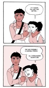 Hotaru comforting Kayla about her zombified crush.
