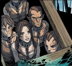 Elf slaves from one of the Dragon Age comics, Those Who Speak.