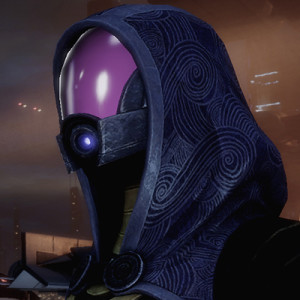 Tali, the main Quarian in the series, wearing a headscarf.